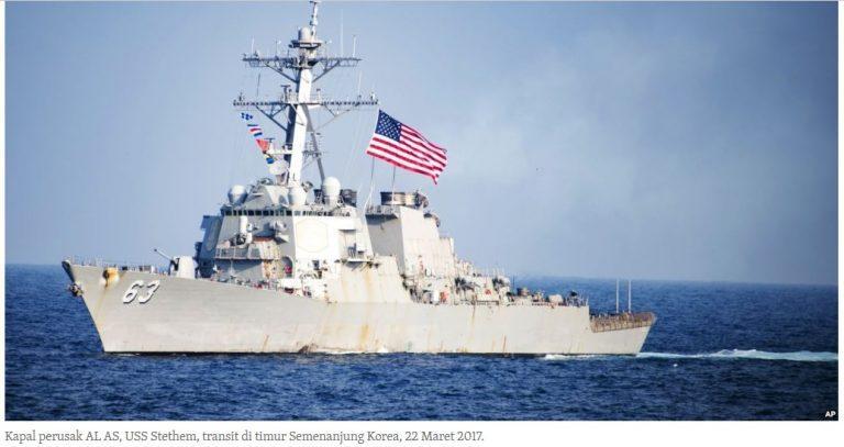Kapal Angkatan Laut AS Melintas Di Selat Taiwan
